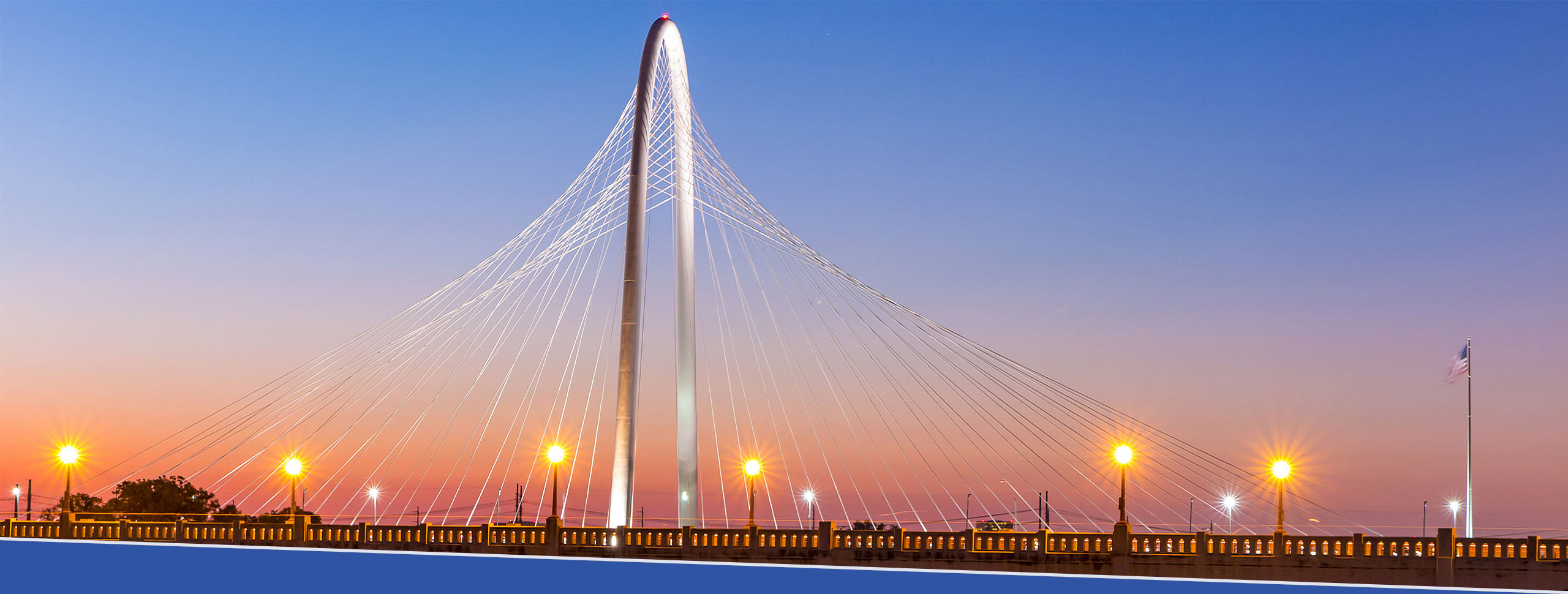 Sunrise at Margaret Hunt Hill Bridge, with Ronald Kirk Pedestrian Brigde in the foreground. Dallas, Texas.
